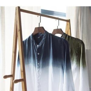 Image 3 - New spring 2019 Shirt Men linen cotton three quarter Sleeve Shirts For Men Standing collar  Comfortable Shirt Asian size M XXXL
