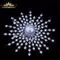 Espumante Branco Pérola Shell Cosmos Cúpula Atômica CZ Broche Prata Irregular 5 Camada de Pedra Modernista Cometa Explosão Broches