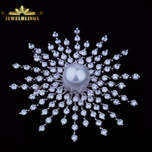 White Brooches Stone Pearl