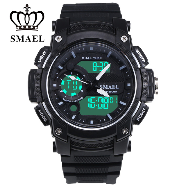 50m Waterproof Sports SMAEL LED Electronic Watch Teenage Gift Present Outdoor Watch Sports Personality Man Dual Display  1542