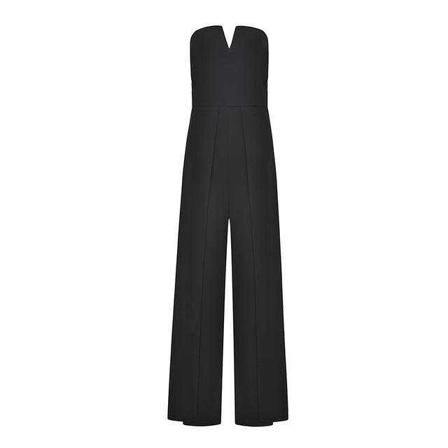 Umeko Sleeveless Tube Jumpsuit Sexy V Neck Hollow Out Boot Cut Overalls Bodycon High Waist Backless Split Long Rompers 2019