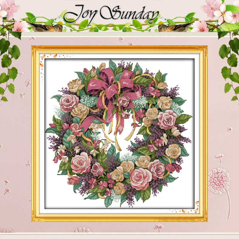 A Wreath Of Roses Patterns Counted Cross Stitch 11CT 14CT Cross Stitch Set Wholesale Cross-stitch Kit Embroidery Needlework