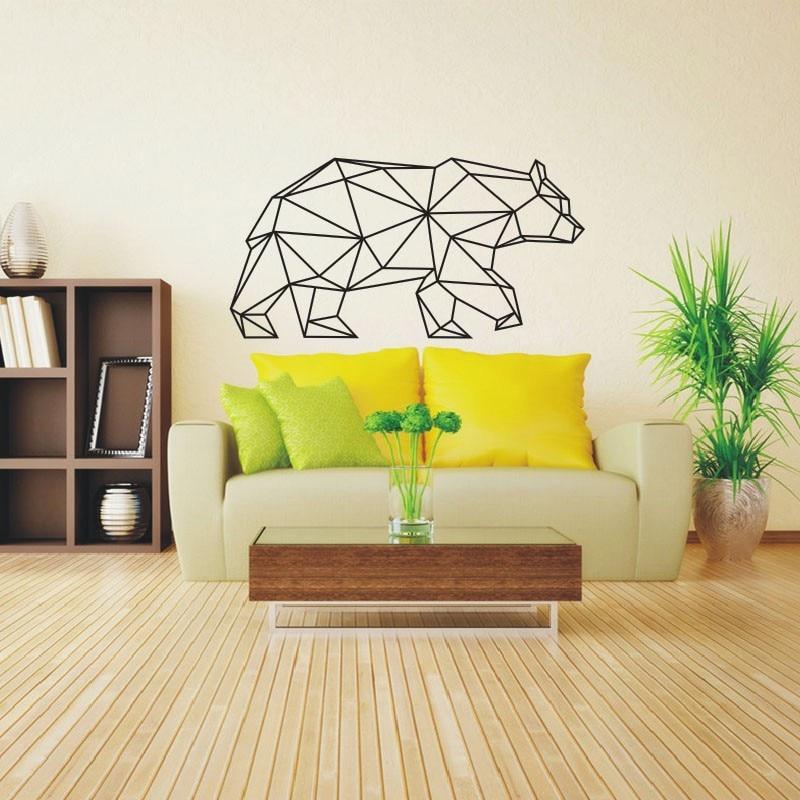 ✓55x108cm Geometric Animals Vinyl Bear Wall Sticker Vinyl Wall Art ...