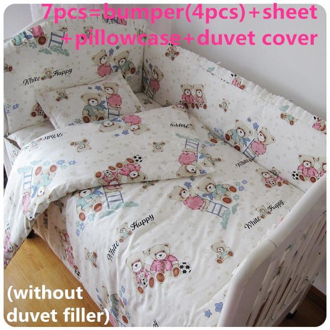 discount 6 7pcs baby bedding sets crib cot bassinette cot bedding set 120 60 120 70cm Promotion! 6/7PCS Character Baby Bedding Sets Crib Cot Bassinette Baby Bumper, 120*60/120*70cm