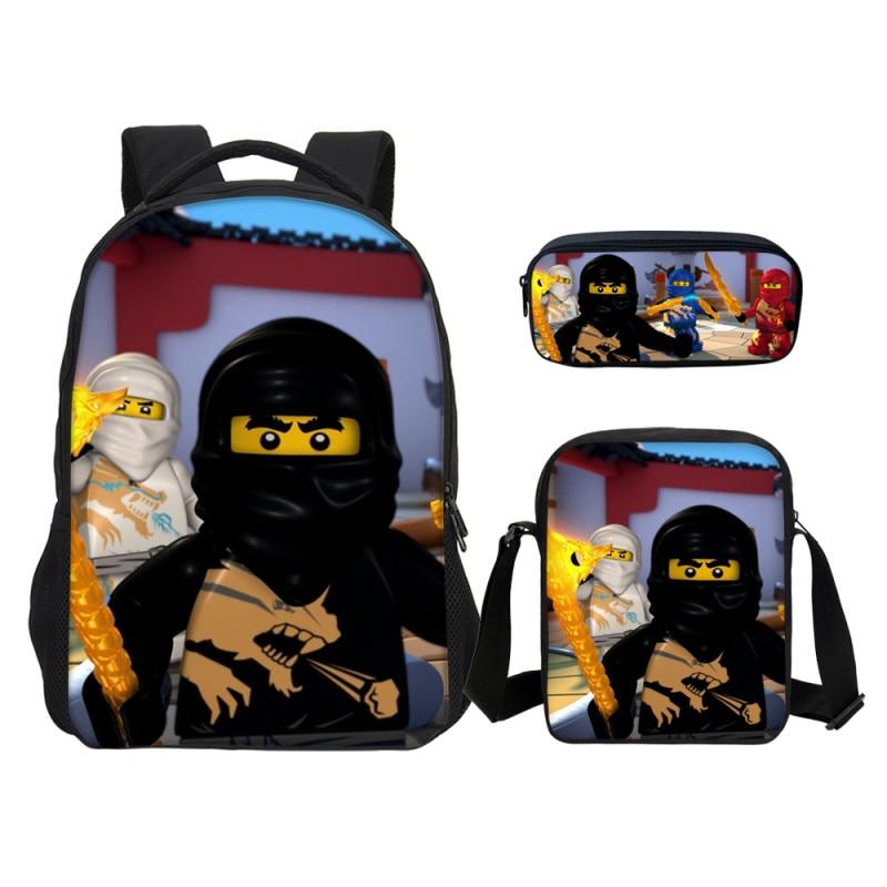 Lego 3 Set Kids Cartoon School Backpack For Boys Backpacks Lego Ninjago  Pattern School Pen Shoulder Bag Kids Daily Backpacks-in Backpacks from  Luggage ... 0ea23a54d27e5