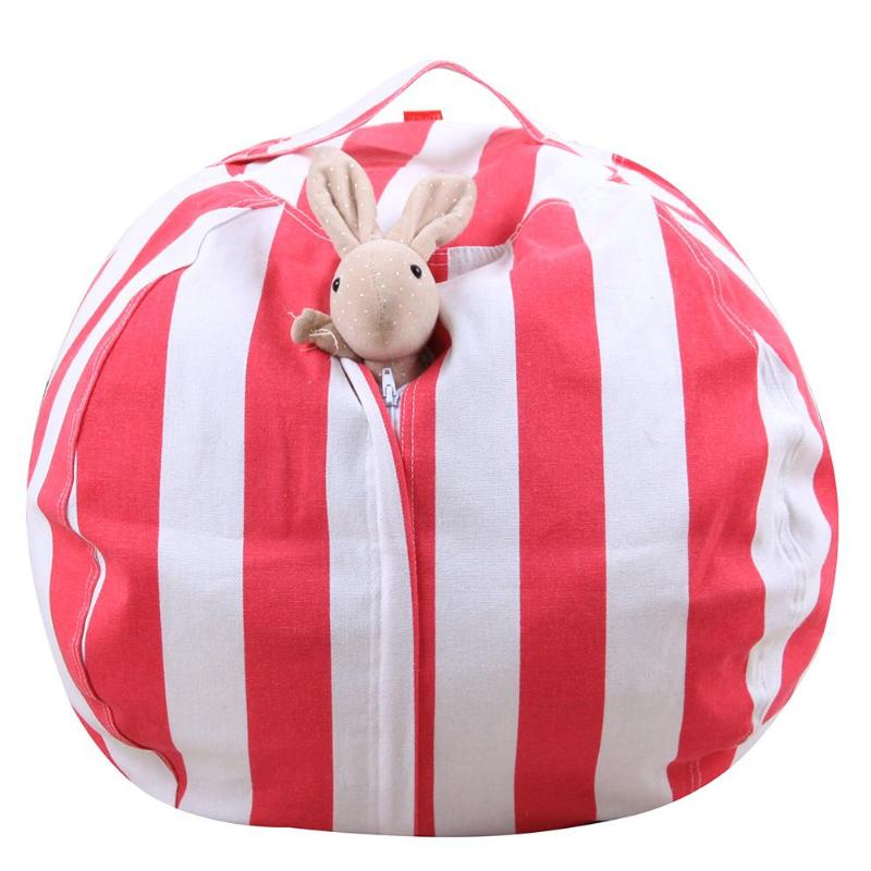 14 20 Inch Stripe Kids Plush Toys Storage Bag Pouch Storage Stuff Animal Bean Toy Bags with Carrier Handle