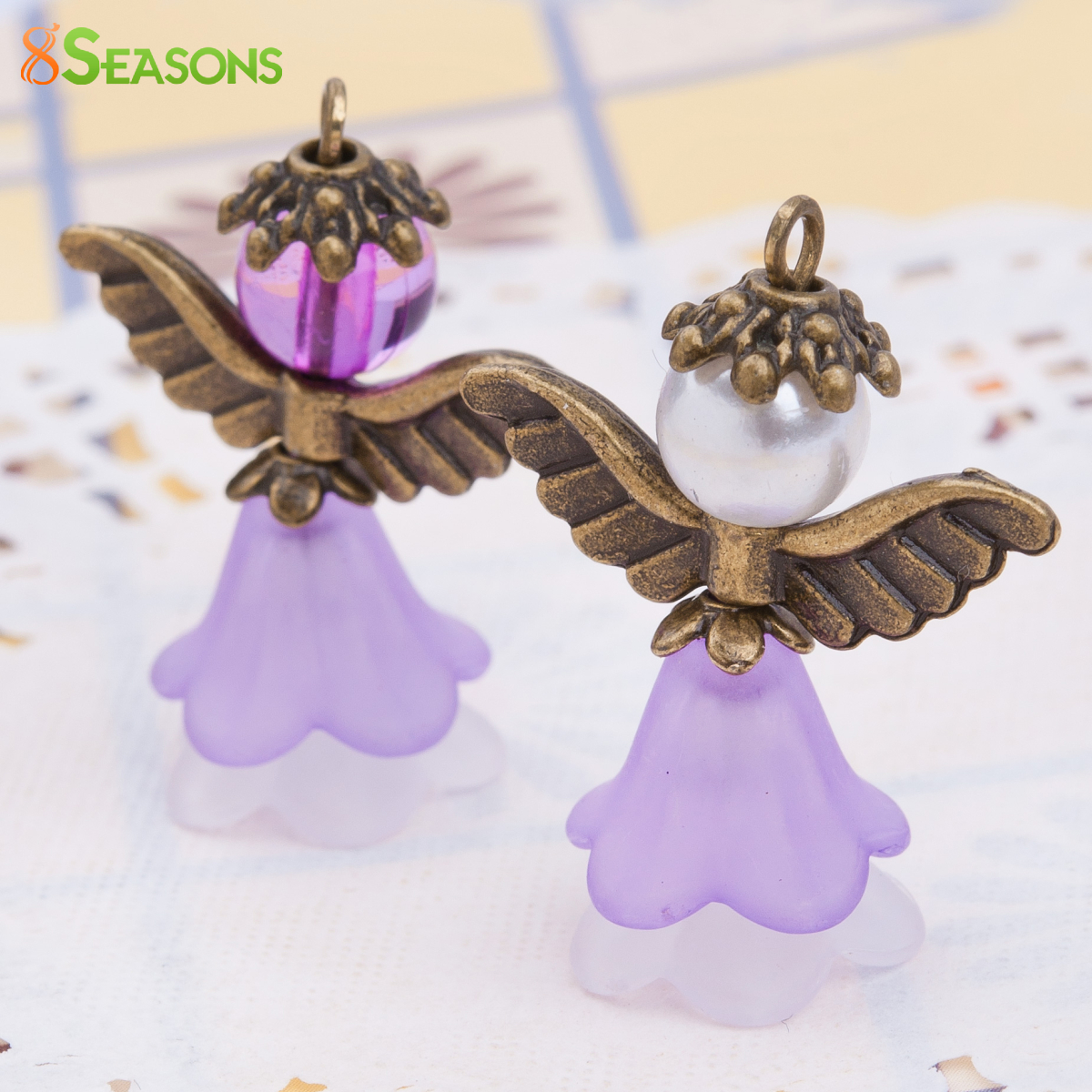 8SEASONS Guardian Angel Wing Charms Pendants Antique Bronze With Acrylic Mauve imitation Pearl Bead 30 x 24mm ,1 Set(2 PCs/Set)