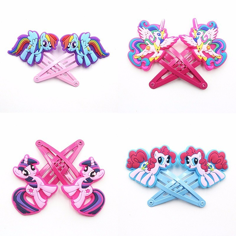 2PCS Lovely New Horse Girls Hair Accessories My Little Ponys Hair Clips Cartoon Kids Hairpins Children Hair Ornaments