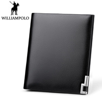 Williampolo Metal Mini Wallet Men Leather Slim Bifold Purse Pouch Fashion Front Pocket Real Leather Purse Short Small Wallet Man