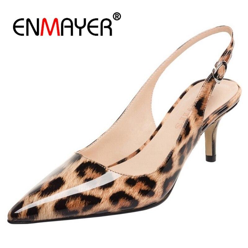 ENMAYER Women Pumps 2018 Spring Pointed Toe Leopard Patent 6.5CM High Heels Stilettos OL Dress Party Shoes US Size 4-12.5 CR818 enmayer high heels pointed toe spring