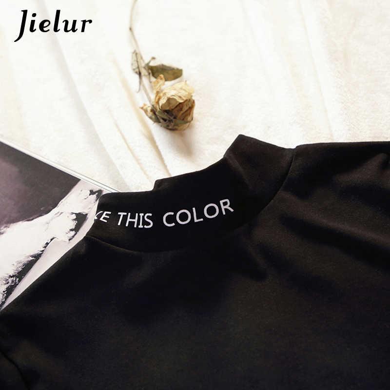 Jielur 2019 Осенняя женская футболка с длинными рукавами с буквенным принтом черно-белые хипстерские женские футболки Harajuku Chicly Mujer tee top