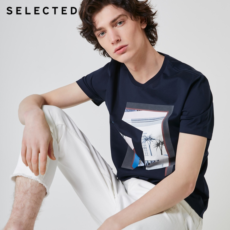 SELECTED Men's Summer Printed Short-sleeved 100% Cotton Casual T-shirt S | 419201629