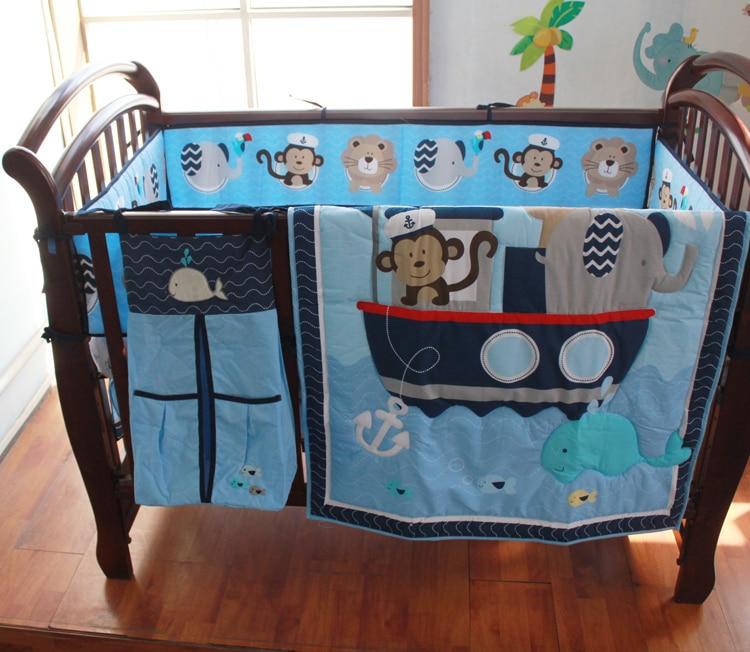8 pieces Crib Infant Room Kids Baby Bedroom Set Nursery Bedding Sailor Blue Cot bedding set for newborn baby boy