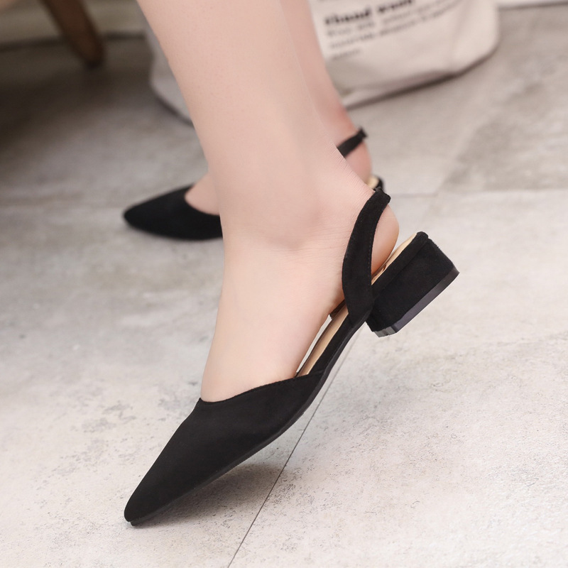 Spring Dress Shoes Women Low Heels Slip On Lady Sandals Flock Candy Color Summer Sandals Women Shoes Pointed Toe Pumps WSH3186 3