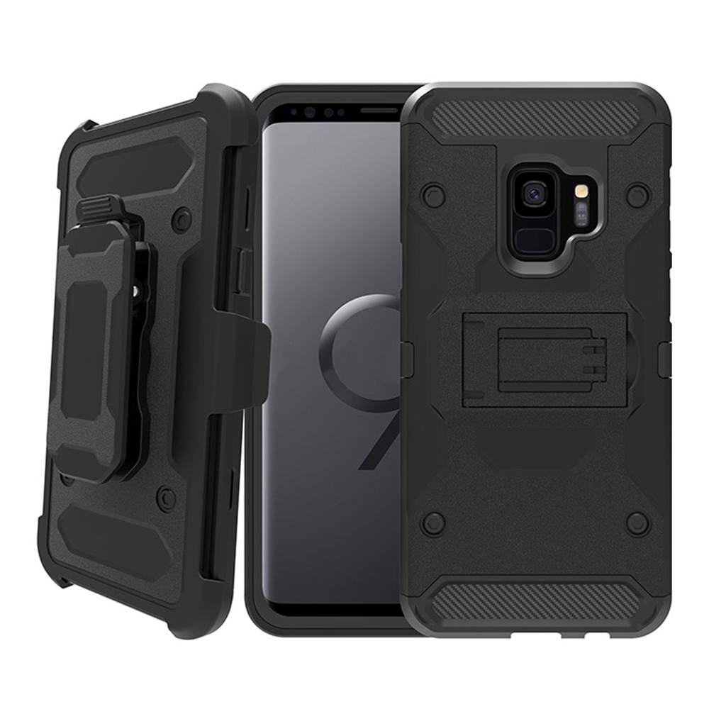 For Samsung Galaxy S9 / S9 Plus Heavy Duty Shockproof Hybrid Tank Armor Case With Kickstand Belt Clip Holster Hard Back Cover