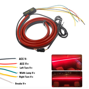 Image 5 - JURUS Unverisal 100CM Red Led Flowing Lights Car Additional Brake Light Flexible LED High Mount Stop Light With Turn Signal DRL