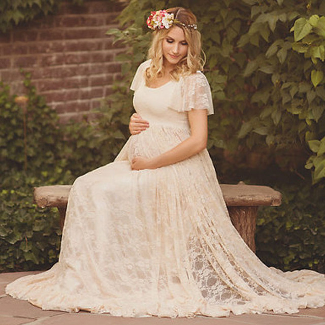 778d4bd3cc9c9 Long Maxi Gown Maternity Dresses For Photo Shoot Lace Pregnancy Dresses  Maternity Photography Props Clothes For Pregnant Women