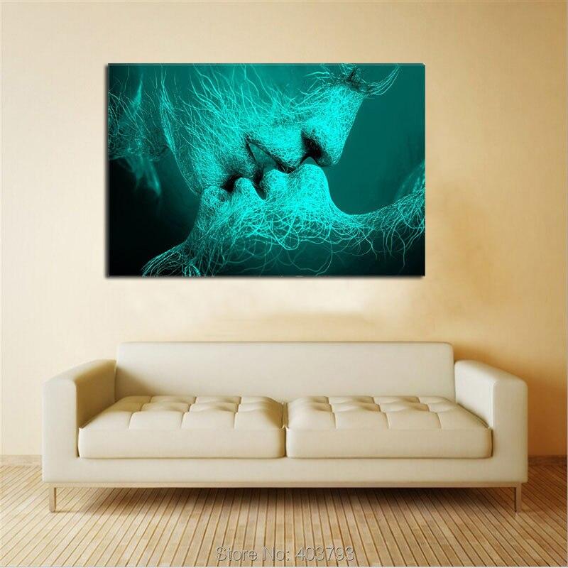 Wall Art Холст Адама и Евы, создания и Поцелуй, любовь США Дизайн Для Домашнего Декора, Dual View Сюрприз Ручная Роспись
