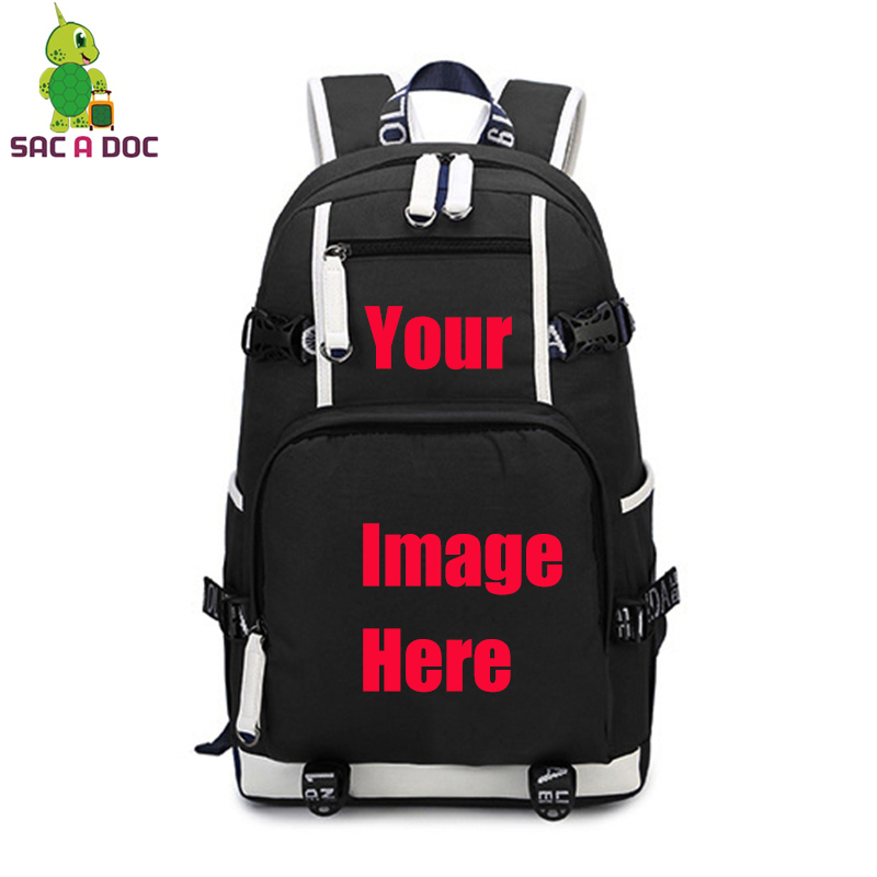 Customize Your Image Backpack Anime Star Printed Canvas Backpack Large Travel Shoulder Bag Teens Students School Laptop Bags