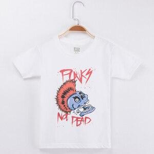Футболка для мальчиков в стиле панк-рок, хлопковая футболка с коротким рукавом для девочек, футболка унисекс, 2019