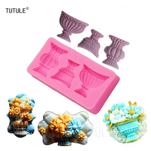 Gadgets - Pot Vase Set Silicone Mold Fondant Chocolate Melte Candy Mold Cake Cupcake Sugar cookie Decoration BEST QUALITY Mold bakers ez way dragees silver sugar cake cupcake cookie sprinkles 2mm