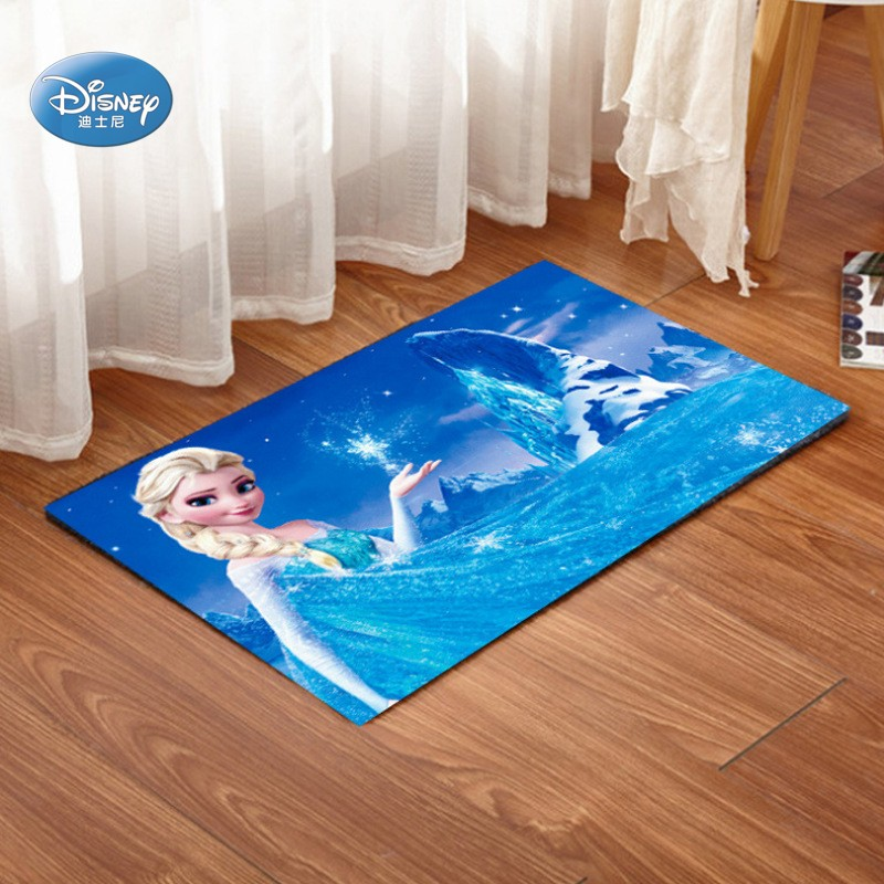 Blue Frozen Elsa Anna Princess Children Crawling Game Rug Carpet Door Mat Bathroom Rug