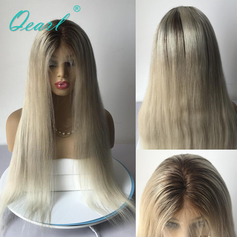 Ombre Blonde Glueless Lace Front Wigs Straight Human Hair Lace Wig 4 60 Remy Hair Preplucked