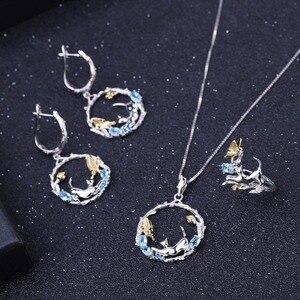 Image 5 - GEMS BALLETT Natürliche Swiss Blue Topas Feine Schmuck 925 Sterling Silber Handmade Schmetterling Blume Knospe Anhänger Halskette für Frauen