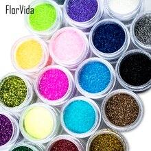 FlorVida 24 Colors Nail Art Glitters Colorful Soft Thin Dust Beauty Decoration