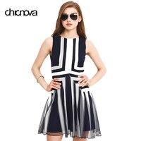 Plus Size Dress XXXL Women Mesh Striped Maxi Dress Chiffon Min Patchwork Tank Above Knee Summer