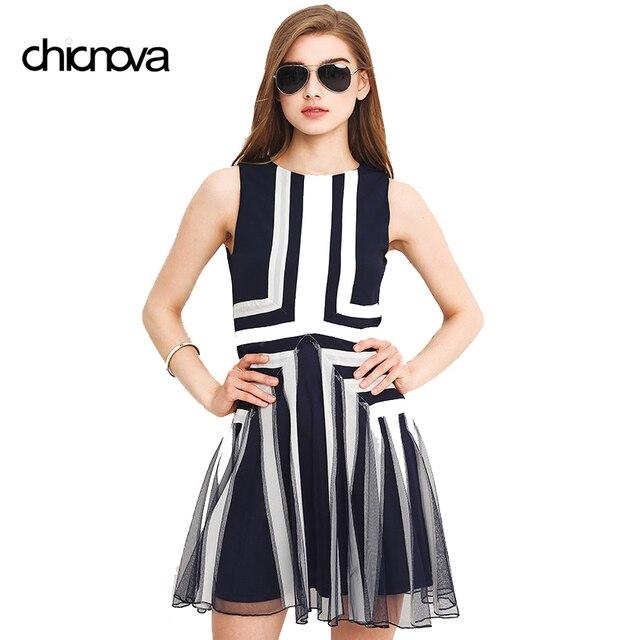 a09db6c2d1f Plus Size Dress XXXL Women Mesh Striped Maxi Dress Chiffon Min Patchwork  Tank Above Knee Summer FS0455
