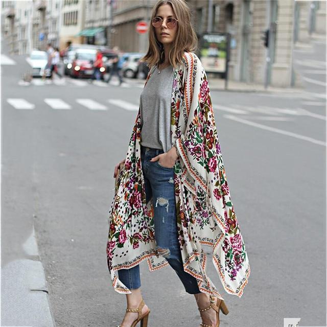 Japanese Kimono robe Cardigan Women Fashion Chiffon Street Casual Wear Floral Print Cover Up Beach Long Blouse v neck bat shirts 1
