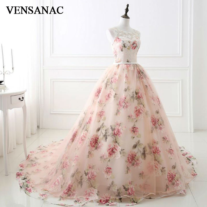 VENSANAC 2017 New Lace Appliques O Neck Long   Evening     Dresses   Sleeveless Embroidery Beadings Sweep Train Party Prom Ball Gowns