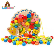 LittLove Wooden Threading Toys Hedgehog Lacing Beads Fruit Learning Kids Gift Educational Soft Montessori Children Intelligent