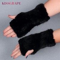 ブランド20センチ長さ高級品質冬の女性の暖かいミトンリアルナチュラルミンクの毛皮ニット指なし手袋強力な弾力