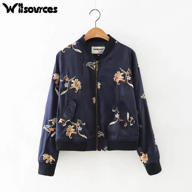 Witsources Женщины цветок emboridery куртки мода новая осень марка повседневная куртка SC2239