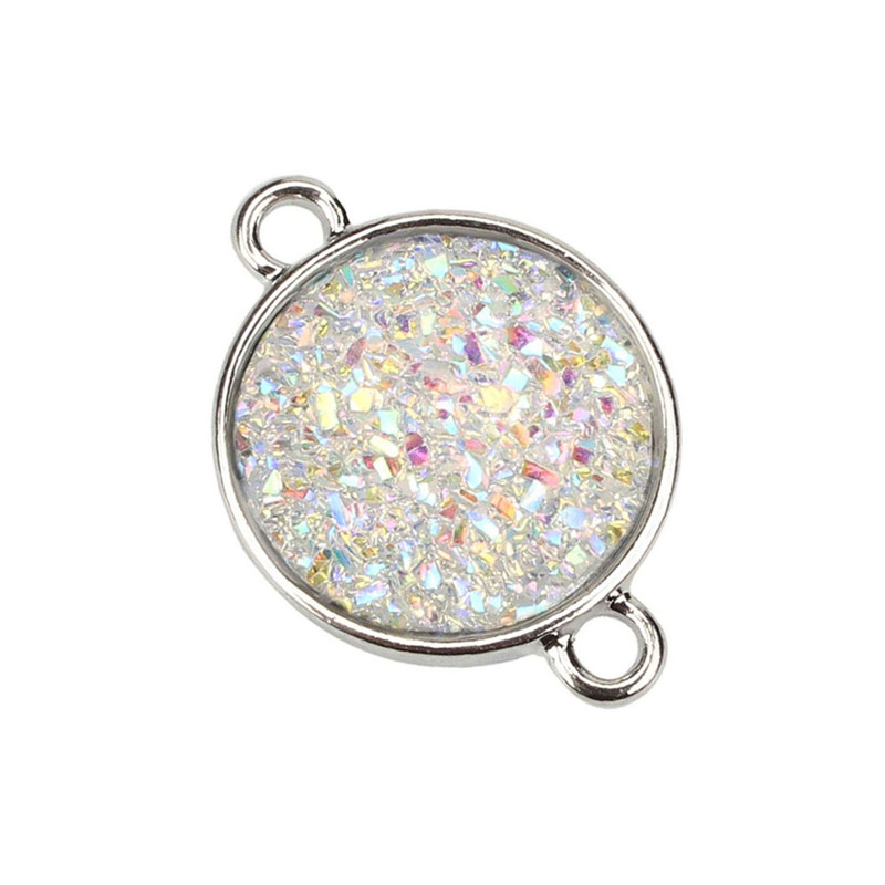 2019 Faux Drusy Resin Ladies pendant Cabochon Druzy Connector pandents for necklaces women replacement jewelry pendant in Charms from Jewelry Accessories