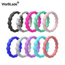 Warblade novo 3mm fda grau alimentício anel de silicone hypoallergenic crossfit onda flexível silicone anel de dedo para as mulheres anéis de casamento