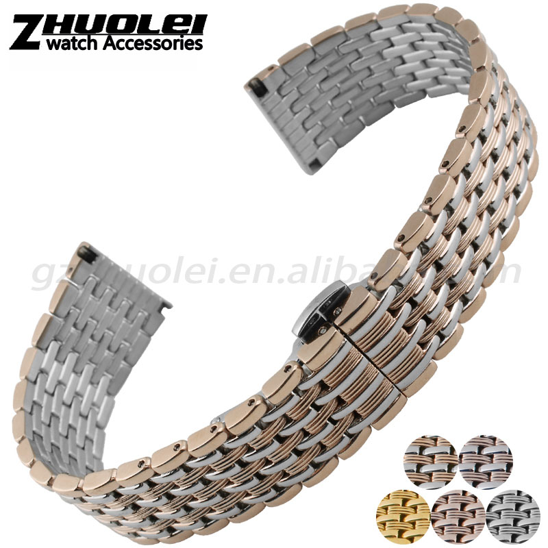 12|14|16|18|20|22|24mm high quality imported stainless steel watch bracelet with butterfly buckle free shipping