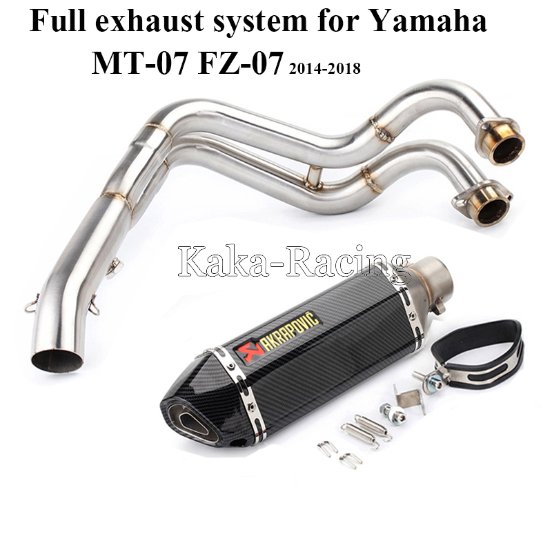 MT 07 Motorcycle Full Exhaust system slip on pipe + Akrapovic Muffler Escape Tail For Yamaha MT07 FZ07 Tracer 2014 2018 XSR700