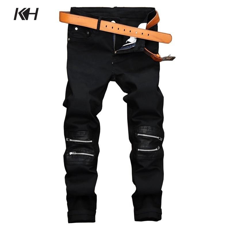 KH Men Brand Casual Straight Jeans Men's Fashion Zipper Decoration Elastic Slim Black Denim Pants Riding Motorcycle Trousers