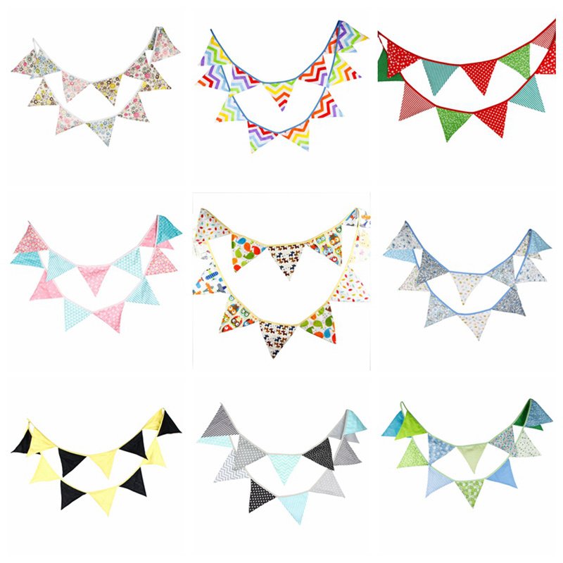 12 Flags 3 2m Fashion Fabric Elegant Cotton Bunting Pennant Banner Flags Garland Baby Shower Outdoor DIY Home Room Party Decor in Banners Streamers Confetti from Home Garden