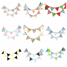 12 Flags 3.2m Fashion Fabric Elegant Cotton Bunting Pennant Banner Garland Baby Shower Outdoor DIY Home Room Party Decor