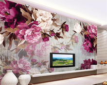 Beibehang 3D Wallpaper Living Room Bedroom Mural Painting Hand painted peony wood grain TV Background photo 3d wallpaper behang free shipping cartoon wallpaper children room bedroom retro wood frame background wallpaper hand painted animal mural