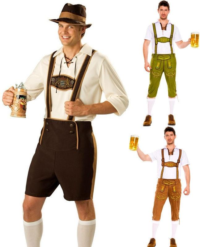 men oktoberfes costumes men beer festival suit beer men cos waiter suit top shorts hat set halloween cosplay costumes