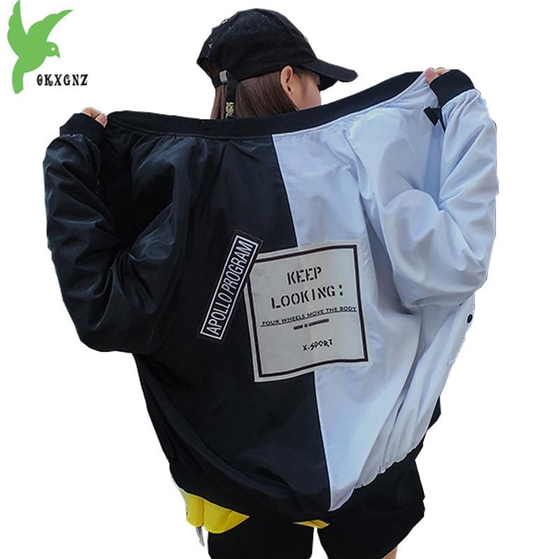 Plus size 4XL Jackets womens 2018 Spring autumn Splice Baseball clothes Bat sleeve Casual top Loose coat students Windbreaker