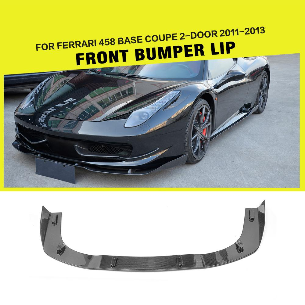 Carbon Fiber Car Front Lip Spoiler Ahead Bumper Splitters Case For Ferrari 458 Base 2 Door 2011 2012 2013 Car Tuning Parts