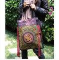 Frete Grátis! 2014 tendência Nacional das mulheres bolsa grande saco ocasional do vintage de madeira do grânulo bordado bordado saco de ombro único