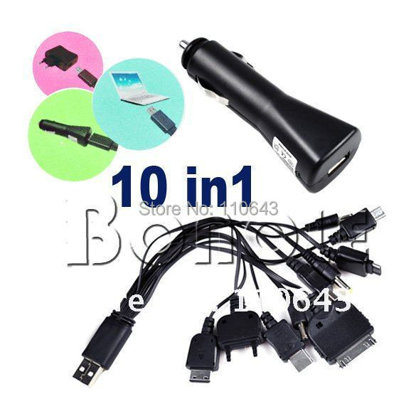 Universal Multi 10 in 1 Cell Phone Game USB Charger Cable + Car Charger
