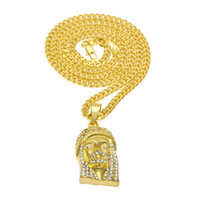 MCSAYS Hip Hop Jewelry Gold/Silver Color Jesus Face CZ Bling Pendant Link Chain Necklace Mens Fashion Special Gift For Men 4GM